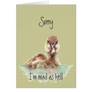 Pato enojado divertido del cumpleaños tardío, pája tarjeta de felicitación