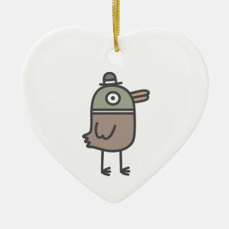 Pato extraño adorno de cerámica en forma de corazón