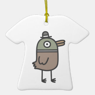 Pato extraño adorno de cerámica en forma de camiseta