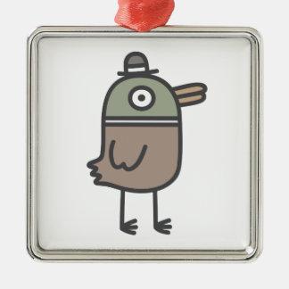 Pato extraño adorno cuadrado plateado