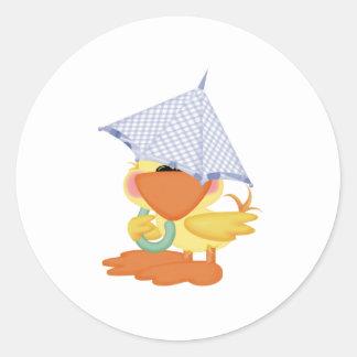 Pato Invitación-Azul/Quackup de la fiesta de bienv Etiquetas Redondas