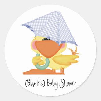 Pato Invitación-Azul/Quackup de la fiesta de bienv Pegatinas