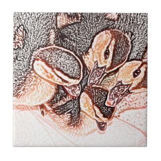 pato lindo del bebé del bosquejo de los anadones azulejo cuadrado pequeño