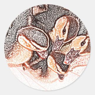 pato lindo del bebé del bosquejo de los anadones pegatinas redondas