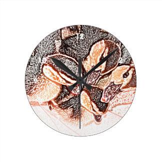 pato lindo del bebé del bosquejo de los anadones reloj redondo mediano