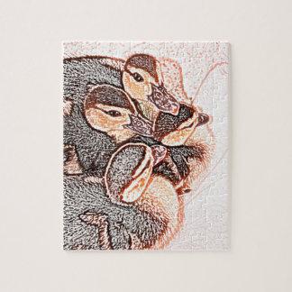 pato lindo del bebé del bosquejo de los anadones rompecabezas con fotos