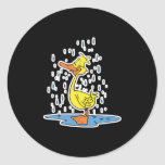 pato lindo del charco en la lluvia etiqueta