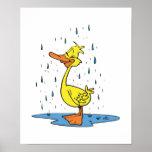 pato lindo del charco en la lluvia póster