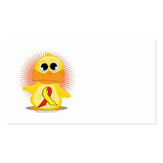 Pato rojo y amarillo de la cinta tarjetas de visita