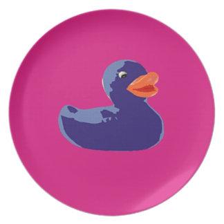 Pato rosado azul Ducky de goma del arte pop Platos