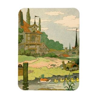 Pato salvaje y anadones que nadan en el río imanes rectangulares