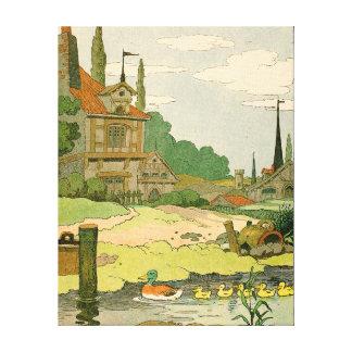 Pato salvaje y anadones que nadan en el río impresiones en lona estiradas