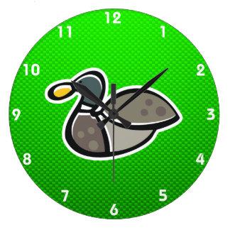 Pato verde reloj redondo grande