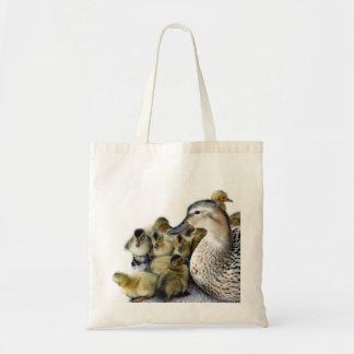 Pato y anadones salvajes de la madre bolsas lienzo