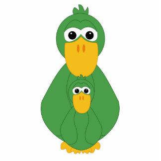 Pato y bebé verdes torpes esculturas fotográficas