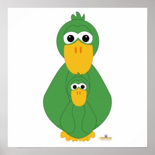Pato y bebé verdes torpes póster