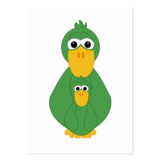 Pato y bebé verdes torpes tarjetas de visita