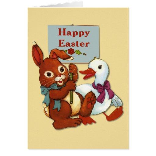 Pato y conejito Pascua Tarjetón