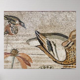Pato y pájaro mosaico del Nilo casa del fauno Posters