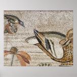 Pato y pájaro, mosaico del Nilo, casa del fauno Póster