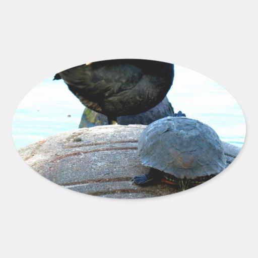 Pato y tortuga pegatina óval personalizadas
