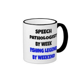 Patólogo de discurso de la leyenda de la pesca taza de café