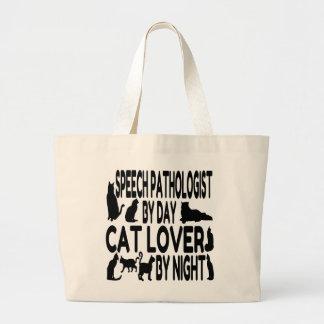 Patólogo de discurso del amante del gato bolsa lienzo