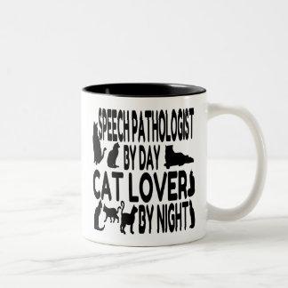 Patólogo de discurso del amante del gato taza dos tonos