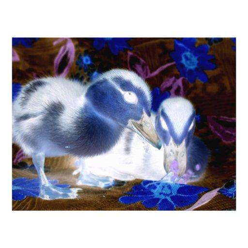 Patos azules y blancos fantasmagóricos del bebé tarjetón