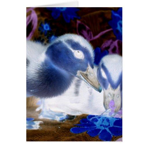 Patos azules y blancos fantasmagóricos del bebé tarjeton