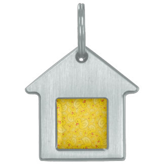 Patos de goma amarillos lindos placa de mascota