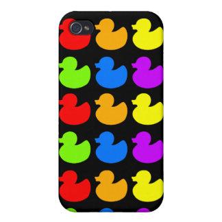 Patos de goma del arco iris en negro iPhone 4 cárcasas