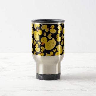Patos de goma negros lindos taza de viaje de acero inoxidable