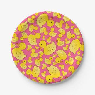Patos de goma rosados lindos platos de papel