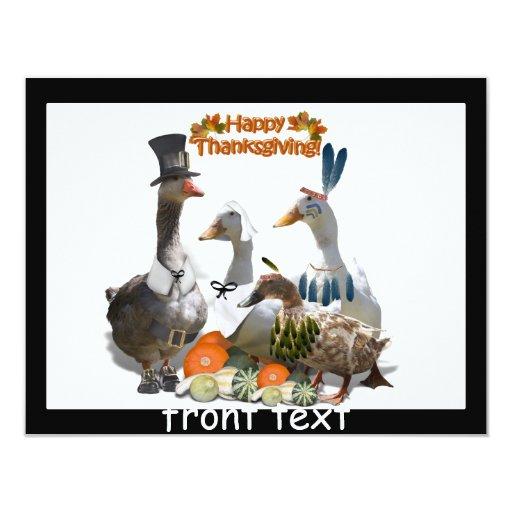Patos de la acción de gracias - peregrinos y invitación 10,8 x 13,9 cm