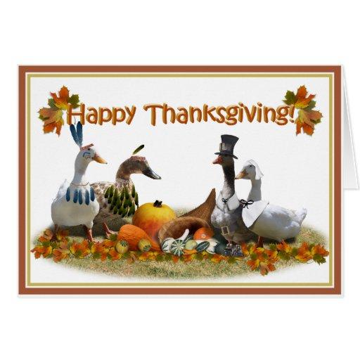 Patos de la acción de gracias - peregrinos y tarjeta de felicitación