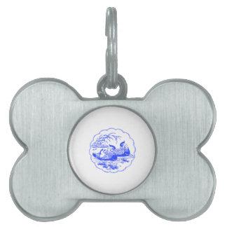 Patos de mandarín placa de mascota