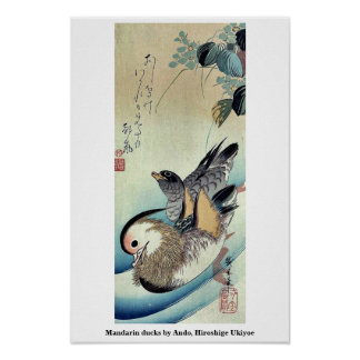 Patos de mandarín por Ando, Hiroshige Ukiyoe Poster
