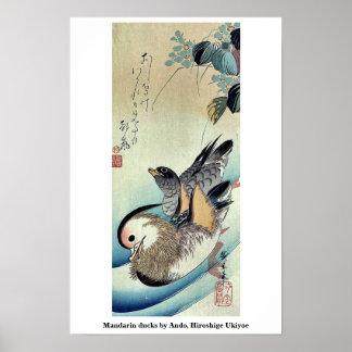 Patos de mandarín por Ando, Hiroshige Ukiyoe Póster