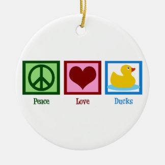 Patos del amor de la paz adorno redondo de cerámica