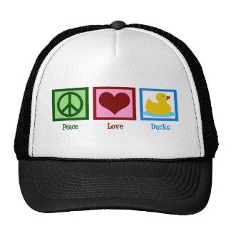 Patos del amor de la paz gorras de camionero