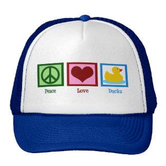 Patos del amor de la paz gorros bordados