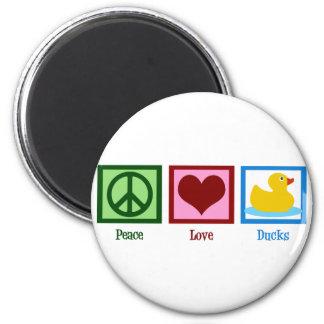 Patos del amor de la paz imán redondo 5 cm