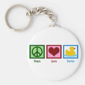 Patos del amor de la paz llavero redondo tipo pin