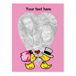 Patos del boda postal