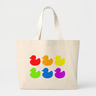 Patos del caucho del arco iris bolsa tela grande
