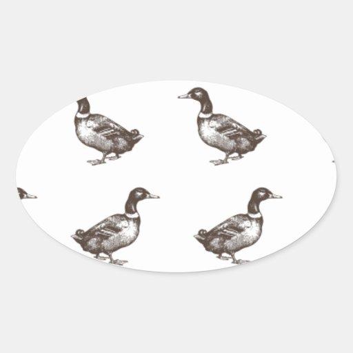 Patos del corral de la colección de Emma Janeway Pegatinas Oval Personalizadas