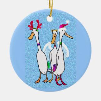 Patos del navidad adorno navideño redondo de cerámica
