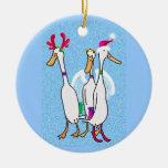 Patos del navidad adorno redondo de cerámica