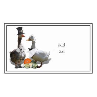 Patos del peregrino de la acción de gracias tarjetas de visita